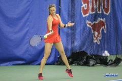 DALLAS, TX - APRIL 12: Liza Buss hits a forehand during the SMU women's tennis match vs North Texas on April 12, 2018, at the SMU Tennis Complex, Turpin Stadium & Brookshire Family Pavilion in Dallas, TX. (Photo by George Walker/DFWsportsonline)