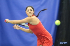 DALLAS, TX - APRIL 12: Ana Perez-Lopez hits a backhand during the SMU women's tennis match vs North Texas on April 12, 2018, at the SMU Tennis Complex, Turpin Stadium & Brookshire Family Pavilion in Dallas, TX. (Photo by George Walker/DFWsportsonline)