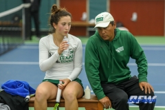 Plano, TX - April 14: Head Coach Sujay Lama with Tamuna Kutubidze during the North Texas Women's Tennis dual match against the University of Arlington at the Lifetime Plano Tennis facility in Plano, TX. (Photo by Mark Woods/DFWsportsonline)