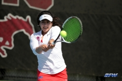 DALLAS, TX - APRIL 18: Sarai Monarrez Yesaki during the SMU women's tennis match vs Temple on April 18, 2018, at the SMU Tennis Complex, Turpin Stadium & Brookshire Family Pavilion in Dallas, TX. (Photo by George Walker/DFWsportsonline)