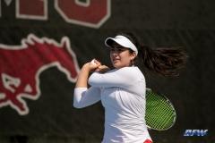 DALLAS, TX - APRIL 18: Sarai Monarrez Yesaki during the SMU women's tennis match vs Temple on April 18, 2018, at the SMU Tennis Complex, Turpin Stadium & Brookshire Family Pavilion in Dallas, TX. (Photo by George Walker/DFWsportsonline)