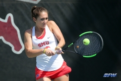 DALLAS, TX - APRIL 18: Charline Anselmo during the SMU women's tennis match vs Temple on April 18, 2018, at the SMU Tennis Complex, Turpin Stadium & Brookshire Family Pavilion in Dallas, TX. (Photo by George Walker/DFWsportsonline)