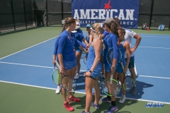 DALLAS, TX - APRIL 19: SMU team huddle during the SMU women's tennis match vs USF on April 19, 2018, at the SMU Tennis Complex, Turpin Stadium & Brookshire Family Pavilion in Dallas, TX. (Photo by George Walker/DFWsportsonline)
