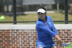 DALLAS, TX - APRIL 19: Sarai Monarrez Yesaki during the SMU women's tennis match vs USF on April 19, 2018, at the SMU Tennis Complex, Turpin Stadium & Brookshire Family Pavilion in Dallas, TX. (Photo by George Walker/DFWsportsonline)