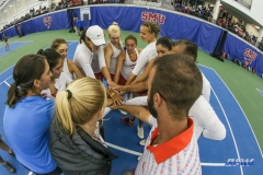 DALLAS, TX - APRIL 21: SMU team huddle during the SMU women's tennis match vs Tulsa on April 21, 2018, at the SMU Tennis Complex, Turpin Stadium & Brookshire Family Pavilion in Dallas, TX. (Photo by George Walker/DFWsportsonline)