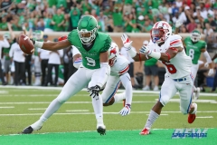 DENTON, TX - SEPTEMBER 01: UNT wide receiver Jalen Guyton (9) scoring the first touchdown during the game between North Texas and SMU on September 1, 2018 at Apogee Stadium in Denton, TX. (Photo by Mark Woods/DFWsportsonline)