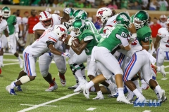 DENTON, TX - SEPTEMBER 01: UNT running back Christian Hosley (46) advances the ball during the game between North Texas and SMU on September 1, 2018 at Apogee Stadium in Denton, TX. (Photo by Mark Woods/DFWsportsonline)