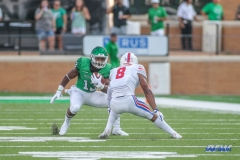 DENTON, TX - SEPTEMBER 01: North Texas Mean Green quarterback Austin Aune (13) runs during the game between North Texas and SMU on September 1, 2018 at Apogee Stadium in Denton, TX. (Photo by George Walker/DFWsportsonline)
