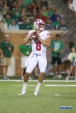 DENTON, TX - SEPTEMBER 01: Southern Methodist Mustangs quarterback Ben Hicks (8) passes during the game between North Texas and SMU on September 1, 2018 at Apogee Stadium in Denton, TX. (Photo by George Walker/DFWsportsonline)