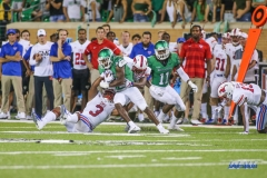 DENTON, TX - SEPTEMBER 01: North Texas Mean Green running back Christian Hosley (46) runs during the game between North Texas and SMU on September 1, 2018 at Apogee Stadium in Denton, TX. (Photo by George Walker/DFWsportsonline)