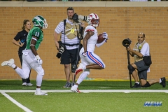 DENTON, TX - SEPTEMBER 01: Southern Methodist Mustangs wide receiver James Proche (3) runs up the sideline for a touchdown during the game between North Texas and SMU on September 1, 2018 at Apogee Stadium in Denton, TX. (Photo by George Walker/DFWsportsonline)