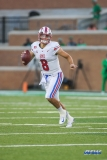 DENTON, TX - SEPTEMBER 01: Southern Methodist Mustangs quarterback Ben Hicks (8) looks to pass during the game between North Texas and SMU on September 1, 2018 at Apogee Stadium in Denton, TX. (Photo by George Walker/Icon Sportswire)