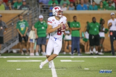 DENTON, TX - SEPTEMBER 01: Southern Methodist Mustangs quarterback Ben Hicks (8) passes during the game between North Texas and SMU on September 1, 2018 at Apogee Stadium in Denton, TX. (Photo by George Walker/Icon Sportswire)