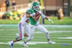 DENTON, TX - SEPTEMBER 01: North Texas Mean Green wide receiver Rico Bussey Jr. (8) runs after a catch during the game between North Texas and SMU on September 1, 2018 at Apogee Stadium in Denton, TX. (Photo by George Walker/Icon Sportswire)