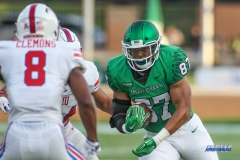 DENTON, TX - SEPTEMBER 01: North Texas Mean Green tight end Kelvin Smith (87) catches a pass during the game between North Texas and SMU on September 1, 2018 at Apogee Stadium in Denton, TX. (Photo by George Walker/Icon Sportswire)