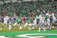 DENTON, TX - SEPTEMBER 01: North Texas Mean Green place kicker Cole Hedlund (30) kicks a field goal during the game between North Texas and SMU on September 1, 2018 at Apogee Stadium in Denton, TX. (Photo by George Walker/Icon Sportswire)