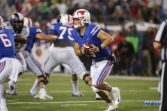DALLAS, TX - SEPTEMBER 07: Southern Methodist Mustangs quarterback Ben Hicks (8) rolls out during the game between TCU and SMU on September 7, 2018 at Gerald J. Ford Stadium in Dallas, TX. (Photo by George Walker/Icon Sportswire)