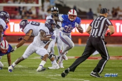 DALLAS, TX - SEPTEMBER 07: TCU Horned Frogs running back Darius Anderson (6) runs around the outside during the game between TCU and SMU on September 7, 2018 at Gerald J. Ford Stadium in Dallas, TX. (Photo by George Walker/Icon Sportswire)