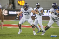 DALLAS, TX - SEPTEMBER 07: TCU Horned Frogs guard Trey Elliott (52) protects the quarterback during the game between TCU and SMU on September 7, 2018 at Gerald J. Ford Stadium in Dallas, TX. (Photo by George Walker/Icon Sportswire)