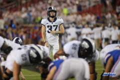 DALLAS, TX - SEPTEMBER 07: TCU Horned Frogs place kicker Cole Bunce (37) lines up a kick during the game between TCU and SMU on September 7, 2018 at Gerald J. Ford Stadium in Dallas, TX. (Photo by George Walker/Icon Sportswire)
