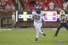 DALLAS, TX - SEPTEMBER 07: TCU Horned Frogs quarterback Shawn Robinson (3) scrambles during the game between TCU and SMU on September 7, 2018 at Gerald J. Ford Stadium in Dallas, TX. (Photo by George Walker/Icon Sportswire)