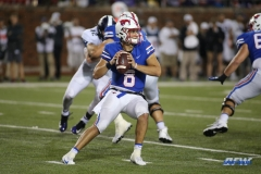 DALLAS, TX - SEPTEMBER 07: Southern Methodist Mustangs quarterback Ben Hicks (8) passes during the game between TCU and SMU on September 7, 2018 at Gerald J. Ford Stadium in Dallas, TX. (Photo by George Walker/Icon Sportswire)