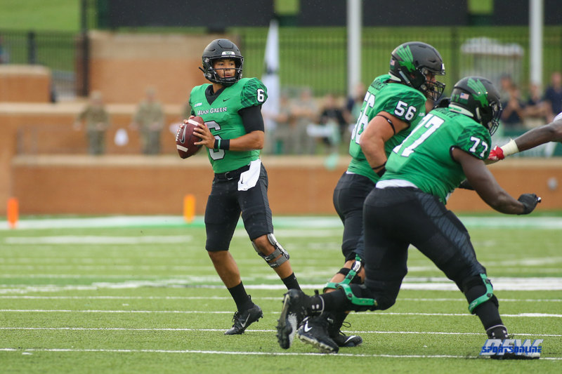 DENTON, TX - SEPTEMBER 08: North Texas Mean Green quarterback Mason Fine (6) drops back to pass during the game between North Texas and Incarnate Word on September 8, 2018 at Apogee Stadium in Denton, TX. (Photo by George Walker/DFWsportsonline)