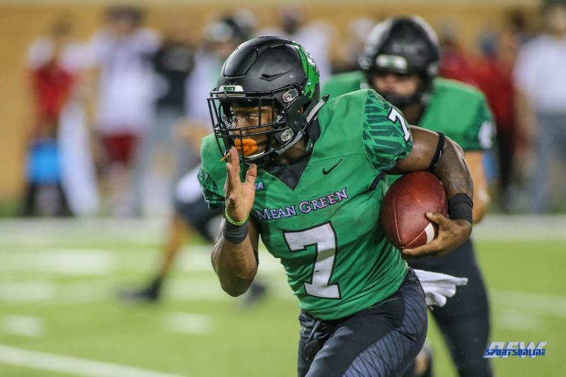 DENTON, TX - SEPTEMBER 08: North Texas Mean Green running back Evan Johnson (7) carries the ball during the game between North Texas and Incarnate Word on September 8, 2018 at Apogee Stadium in Denton, TX. (Photo by George Walker/DFWsportsonline)