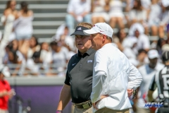 DALLAS, TX - SEPTEMBER 16: TCU Horned Frogs head coach Gary Patterson and Southern Methodist Mustangs head coach Chad Morris talk before the game between the SMU Mustangs and TCU Horned Frogs on September 16, 2017, at Amon G. Carter Stadium in Fort Worth, Texas. (Photo by George Walker/DFWsportsonline)