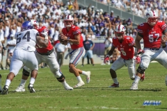 DALLAS, TX - SEPTEMBER 16: Southern Methodist Mustangs quarterback Ben Hicks (8) drops to pass during the game between the SMU Mustangs and TCU Horned Frogs on September 16, 2017, at Amon G. Carter Stadium in Fort Worth, Texas.  (Photo by George Walker/DFWsportsonline)