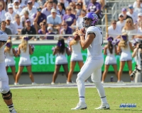 DALLAS, TX - SEPTEMBER 16: TCU Horned Frogs quarterback Kenny Hill (7) throws during the game between the SMU Mustangs and TCU Horned Frogs on September 16, 2017, at Amon G. Carter Stadium in Fort Worth, Texas.  (Photo by George Walker/DFWsportsonline)