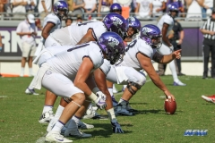 DALLAS, TX - SEPTEMBER 16: TCU offensive line during the game between the SMU Mustangs and TCU Horned Frogs on September 16, 2017, at Amon G. Carter Stadium in Fort Worth, Texas.  (Photo by George Walker/DFWsportsonline)