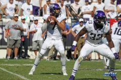 DALLAS, TX - SEPTEMBER 16: TCU Horned Frogs quarterback Kenny Hill (7) drops back to pass during the game between the SMU Mustangs and TCU Horned Frogs on September 16, 2017, at Amon G. Carter Stadium in Fort Worth, Texas.  (Photo by George Walker/DFWsportsonline)