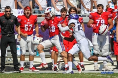 DALLAS, TX - SEPTEMBER 16: Southern Methodist Mustangs wide receiver Trey Quinn (18) during the game between the SMU Mustangs and TCU Horned Frogs on September 16, 2017, at Amon G. Carter Stadium in Fort Worth, Texas.  (Photo by George Walker/DFWsportsonline)