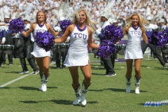 DALLAS, TX - SEPTEMBER 16: TCU Show Girls perform during the game between the SMU Mustangs and TCU Horned Frogs on September 16, 2017, at Amon G. Carter Stadium in Fort Worth, Texas.  (Photo by George Walker/DFWsportsonline)