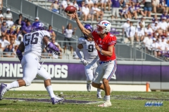 DALLAS, TX - SEPTEMBER 16: Southern Methodist Mustangs quarterback Ben Hicks (8) throws during the game between the SMU Mustangs and TCU Horned Frogs on September 16, 2017, at Amon G. Carter Stadium in Fort Worth, Texas.  (Photo by George Walker/DFWsportsonline)
