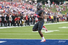 DALLAS, TX - SEPTEMBER 23: Southern Methodist Mustangs wide receiver Courtland Sutton (16) crosses the end zone for a touchdown during the game between SMU and Arkansas State on September 23, 2017, at Gerald J. Ford Stadium in Dallas, TX. (Photo by George Walker/DFWsportsonline)