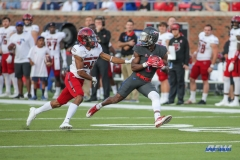 DALLAS, TX - SEPTEMBER 23: Southern Methodist Mustangs wide receiver James Proche (3) catches a pass during the game between SMU and Arkansas State on September 23, 2017, at Gerald J. Ford Stadium in Dallas, TX. (Photo by George Walker/DFWsportsonline)