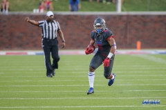 DALLAS, TX - SEPTEMBER 23: Southern Methodist Mustangs running back Xavier Jones (5) runs up the field during the game between SMU and Arkansas State on September 23, 2017, at Gerald J. Ford Stadium in Dallas, TX. (Photo by George Walker/DFWsportsonline)