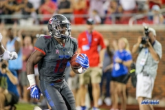 DALLAS, TX - SEPTEMBER 23: Southern Methodist Mustangs running back Ke'Mon Freeman (13) runs up the sideline during the game between SMU and Arkansas State on September 23, 2017, at Gerald J. Ford Stadium in Dallas, TX. (Photo by George Walker/DFWsportsonline)