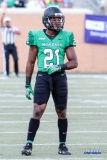DENTON, TX - SEPTEMBER 23: UNT SAFETY TYREKE DAVIS (21) DURING THE GAME BETWEEN THE UNT MEAN GREEN AND UAB BLAZERS ON SEPTEMBER 23, 2017, AT APOGEE STADUIM IN DENTON, TEXAS. (PHOTO BY MARK WOODS/DFWSPORTSONLINE)