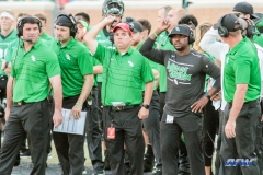 DENTON, TX - SEPTEMBER 23: UNT HEAD COACH SETH LITTRELL AND HIS COACHING STAFF DURING THE GAME BETWEEN THE UNT MEAN GREEN AND UAB BLAZERS ON SEPTEMBER 23, 2017, AT APOGEE STADUIM IN DENTON, TEXAS. (PHOTO BY MARK WOODS/DFWSPORTSONLINE)