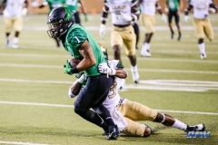 DENTON, TX - SEPTEMBER 23: UNT WIDE RECEIVER TURNER SMILEY (1) SCORING A TOUCHDOWN DURING THE GAME BETWEEN THE UNT MEAN GREEN AND UAB BLAZERS ON SEPTEMBER 23, 2017, AT APOGEE STADUIM IN DENTON, TEXAS. (PHOTO BY MARK WOODS/DFWSPORTSONLINE)