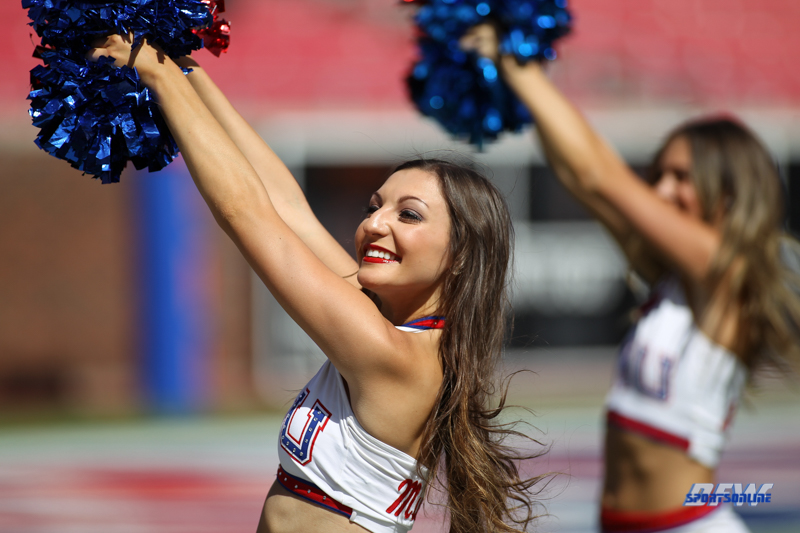 DALLAS, TX - SEPTEMBER 30: SMU pom squad during the game between SMU and UConn on September 30, 2017, at Gerald J. Ford Stadium in Dallas, TX. (Photo by George Walker/DFWsportsonline)
