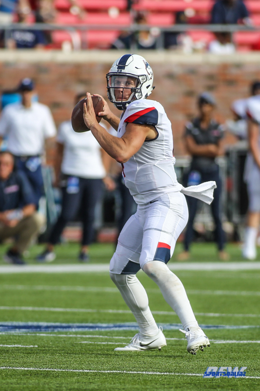 DALLAS, TX - SEPTEMBER 30: Connecticut Huskies quarterback Bryant Shirreffs (4) during the game between SMU and UConn on September 30, 2017, at Gerald J. Ford Stadium in Dallas, TX. (Photo by George Walker/DFWsportsonline)