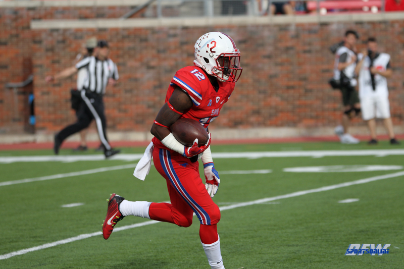 DALLAS, TX - SEPTEMBER 30: Southern Methodist Mustangs defensive back Kevin Johnson (12) during the game between SMU and UConn on September 30, 2017, at Gerald J. Ford Stadium in Dallas, TX. (Photo by George Walker/DFWsportsonline)