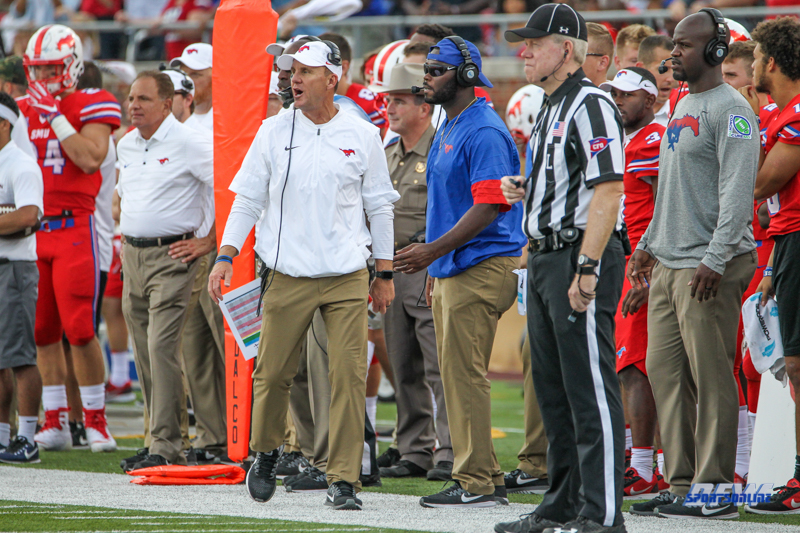 DALLAS, TX - SEPTEMBER 30: Southern Methodist Mustangs head coach Chad Morris patrols the sideline during the game between SMU and UConn on September 30, 2017, at Gerald J. Ford Stadium in Dallas, TX. (Photo by George Walker/DFWsportsonline)