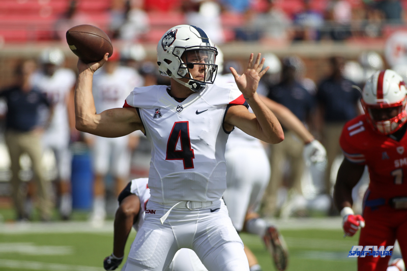 DALLAS, TX - SEPTEMBER 30: Connecticut Huskies quarterback Bryant Shirreffs (4) throws during the game between SMU and UConn on September 30, 2017, at Gerald J. Ford Stadium in Dallas, TX. (Photo by George Walker/Icon Sportswire)