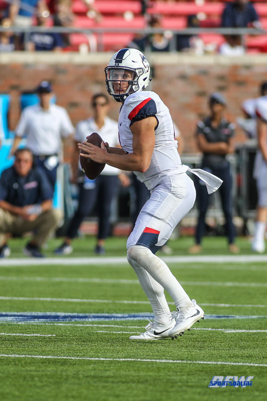 DALLAS, TX - SEPTEMBER 30: Connecticut Huskies quarterback Bryant Shirreffs (4) drops back to pass during the game between SMU and UConn on September 30, 2017, at Gerald J. Ford Stadium in Dallas, TX. (Photo by George Walker/Icon Sportswire)