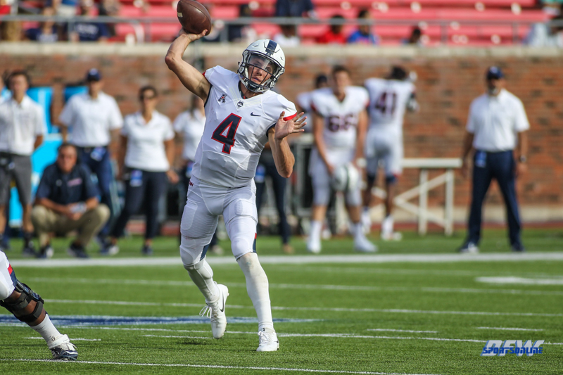 DALLAS, TX - SEPTEMBER 30: Connecticut Huskies quarterback Bryant Shirreffs (4) passes during the game between SMU and UConn on September 30, 2017, at Gerald J. Ford Stadium in Dallas, TX. (Photo by George Walker/Icon Sportswire)